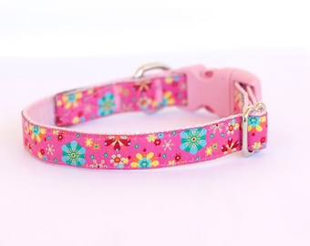 Glitter Snowflakes Dog Cat Collar, Pink Collar, Teacup, Kitty Cat, 1/2 inch width, Puppy