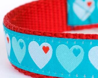 Love Hearts Dog Collar, Aqua Blue Pet Collar, Valentine
