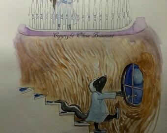 Jessamine finds Theodore Sleepwalking - Original illustration from book