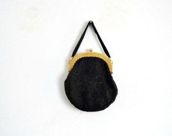 Antique 1920s / Black Evening Handbag  Pearl Jet and Bakelite GATSBY