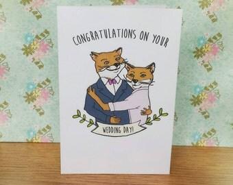 Fantastic Mr and Mrs Fox illustrated wedding card
