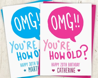 OMG You're How Old Birthday Card