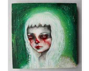 Original girl painting mixed media art painting on wood canvas 8x8 inches - The Struggles Within