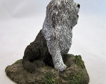Aus Ben 1979 Old English Sheepdog Hand Painted Bronze Figurine M Richardson 916D