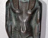 Pharaoh - Egyptian - nude - male - Spelter - Bronze finish - statue - Museum - relief - deco - Bust