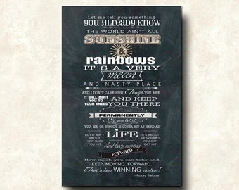 World ain't all sunshine and rainbows - Word Art Prints - on Canvas - 24x36 Rocky Balboa Quote on Winning