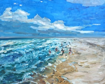 "Beach Scene  16""x16"" original acrylic painting on square canvas, clouds, sea, ocean, sand, small painting"