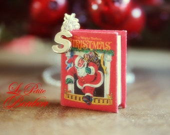 Santa The Night Before Christmas story book with initial necklace