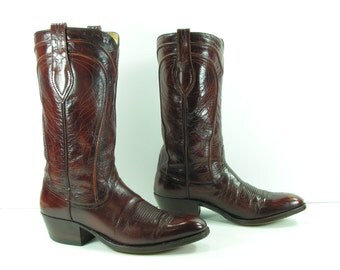 vintage cowboy boots women's 9 brown Dan Post leather cowgirl 1970's or men's 7.5 D