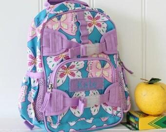 Mini Baby Backpack Pottery Barn (Mini Size) -- Aqua/Lavender Butterfly