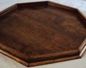 "Extra Large 36"" x 36"" Dark Walnut Stained Octagon Ottoman Tray"