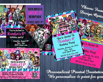 20pcs Custom Personalized Monster High Birthday Party Invitations w/Envelopes - 4x6 Cards - We Print