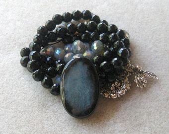 Agate Pendant, Jade Beads, Crystal Glass Rondelles, Necklace Kit, Bead Combo, Craft Supply, DIY Jewelry Kit, Jewelry Making Bead, Blue Black
