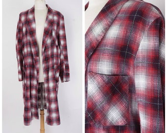 Red Gray Shadow Plaid Flannel Duster 50s 60s Vintage Grunge Shawl Collar Robe