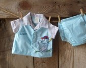 vintage baby boy 2-piece outfit, baseball theme // never worn with tags // newborn to 3 months