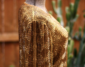 Golden Beaded Geometric Cardigan