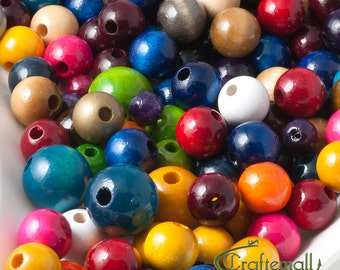 Wooden Beads - Assorted Colors and Sizes - Round Wood Beads - 60 Beads