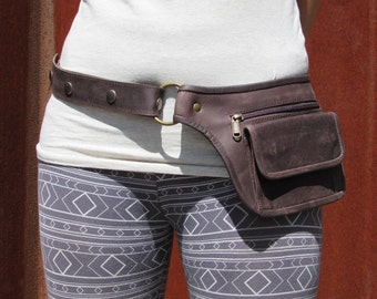 Leather Utility Belt, Leather Belt Bag, Hip Bag, Pouch Belt, Pocket Belt in Brown- HB11Q