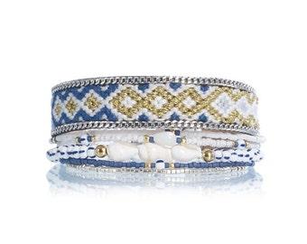 SALE Nautical bracelet - beaded multistrand bracelet - bohemian bracelet - gift for her - friendship bracelet - handwoven bracelet