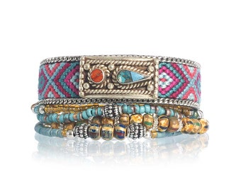 Ethnic bracelet - rustic bracelet - gypsy bracelet - tribal bracelet - tibetan silver bracelet - bohemian beaded multiple strands bracelet