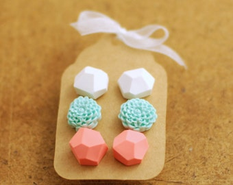 Pastel studs, Diamond shape posts, Geometric studs and flower post earrings set of three - white, coral, light blue