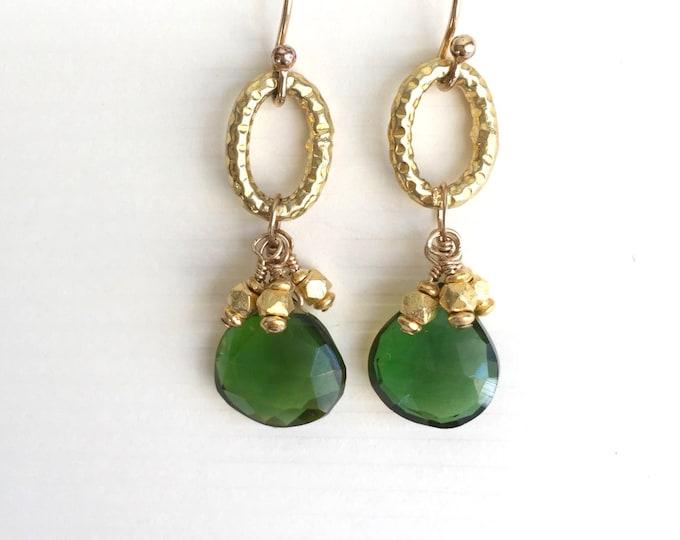 Gold and Green Quartz Earrings