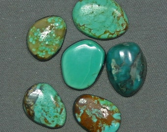 Turquoise cabochons lot Kingman and assorted mines,  B-6