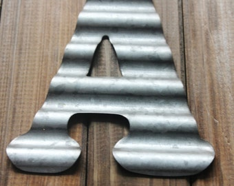 small metal letter corrugated zinc steel initial home decor diy signs letter galvanized vintage style gray silver monogram alphabet rustic