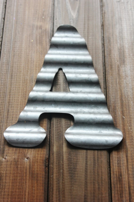 4 Small Metal Letter Corrugated Zinc Steel Initial Home Decor