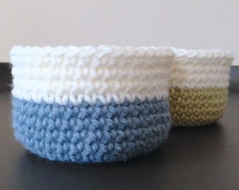 Set of Two Little Crocheted Bowls