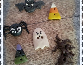 "Handmade ""Creapy halloween"" buttons - polymer clay buttons"