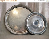 Happy 4th with 40% Off Shabby Silver Plate Tray Collection / Pair of Eclectic Vintage Silver Plate Trays