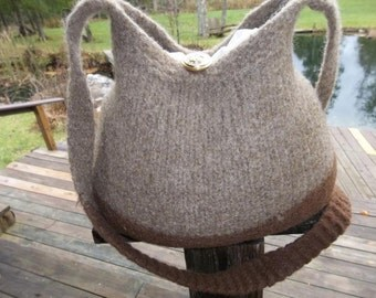 11-1037 hand knit felted wool purse tote handbag f.s.