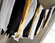 Graduation Party Decorations.  Ships in 2-5 Business Days.  Black, White and Gold Ribbon Garland.