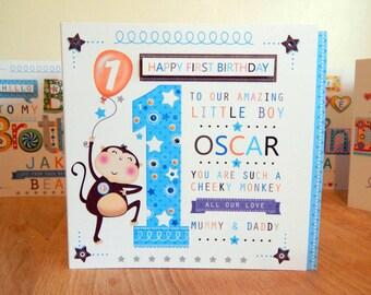 First Birthday card Boy age 2 age 2 age 3 age 4. Cheeky monkey custom made card PERSONALIZED.