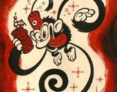 Tiki Fez Monkey - 8.5X11 Signed Art Print - by Shawn Dickinson