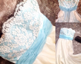 strapless lace gown / something blue wedding dress / vintage bridal gown