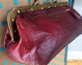 Large Rich Red Leather Dr Bag