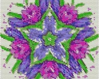 Digital PDF File Set of 5 Bead Stitch Patterns in Brick Stitch Beaded Tapestry Kaleidoscope