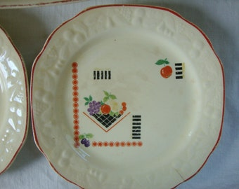 3 Piece Crooksville China Co American Made 337 Serving Bowl 2 plates Red Trim Ivory Plate Raised Border Pattern Art Deco Fruit Transferware