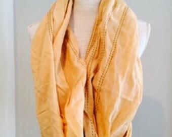Creamy Gold Turquoise Trim Cotton Scarf Sarong