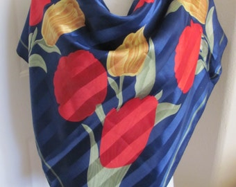 "Beautiful Blue Floral Ladies Soft Poly Scarf // 34"" Inch 88cm Square"