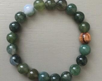 Agate Meditation Bracelet, Agate Yoga Bracelet, Yoga Mala Gift, Wrist Mala, Moss Agate and Olive Wood