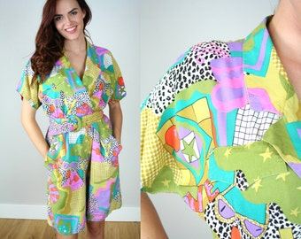 Vintage 80s Jumpsuit with Bold Graphic Print