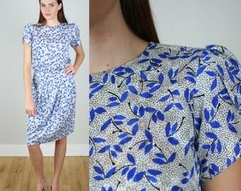 Vintage 80s Blue Floral Secretary Dress