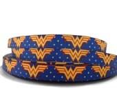 Wonder Woman 3/8'' grosgrain ribbon. Sold by the yard. Flat shipping.