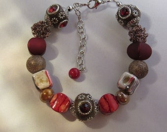 Brown and Burgundy Beaded Bracelet