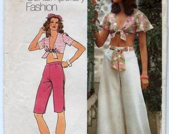 "Vintage Misses' Top, Capri Pants and Wide Leg Pants Sewing Pattern - Simplicity 5695 - Size 10, Buts 32 1/2"""