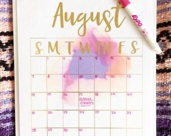 Dryerase reusable 12 month Calendar