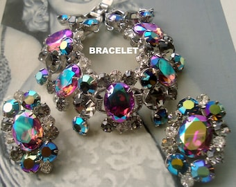 DeLizza and Elster a/k/a Juliana Bold and Beautiful Aurora Borealis Coated Heliotrope and Black Diamond Bracelet and Earring Demi Book Piece